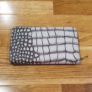 Faux snake skin wallet with metal zipper